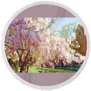 Spring Is In The Air - Flowering Tree Round Beach Towel by Miriam Danar