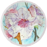 Round Beach Towel featuring the painting Spring by Jasna Dragun