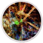 Spring Leaf Abstract Round Beach Towel