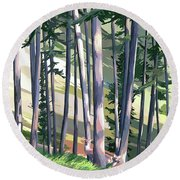 Spring Light And Deer Round Beach Towel