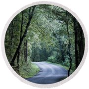 Round Beach Towel featuring the photograph Spring Light On A Forest Road by Parker Cunningham