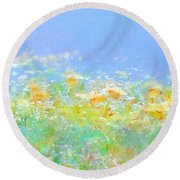 Spring Meadow Abstract Round Beach Towel