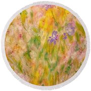 Spring Meadow Round Beach Towel by Claire Bull
