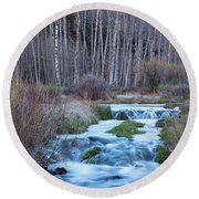 Spring Melt Off Flowing Down From Bonanza Round Beach Towel by James BO Insogna