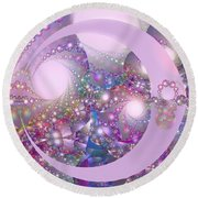 Spring Moon Bubble Fractal Round Beach Towel