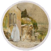 Spring Morning At Montmartre Round Beach Towel