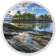 Spring Morning At Wolfe's Neck Woods Round Beach Towel by Rick Berk