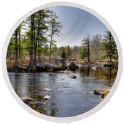 Round Beach Towel featuring the photograph Spring Near Moose River Road by David Patterson