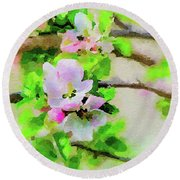 Spring On A Branch Round Beach Towel