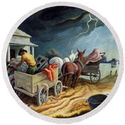 Round Beach Towel featuring the painting Spring On The Missouri by Thomas Hart Benton