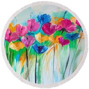 Spring Or Summer Bloom Abstract Painting Round Beach Towel by Lisa Kaiser