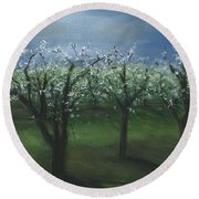 Spring Orchard Round Beach Towel