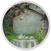 Round Beach Towel featuring the painting Spring Orchard Teatime by Judith Cheng