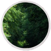 Round Beach Towel featuring the photograph Spring Path Of Light by Shelby Young