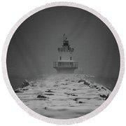 Spring Point Ledge Lighthouse Blizzard In Black N White Round Beach Towel