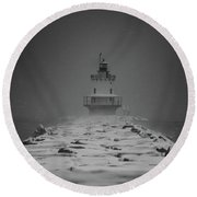 Spring Point Ledge Lighthouse Blizzard In Black N White Round Beach Towel