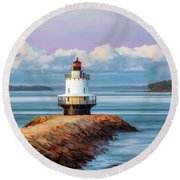 Round Beach Towel featuring the painting Spring Point Ledge Lighthouse by Christopher Arndt