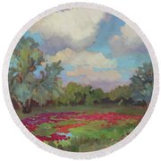 Round Beach Towel featuring the painting Spring Poppies by Diane McClary
