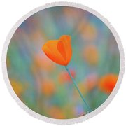 Spring Poppy Round Beach Towel