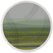 Spring Rain Reflections Round Beach Towel