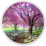 Spring Rhapsody, Happiness And Cherry Blossom Trees Round Beach Towel