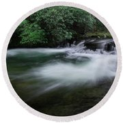 Round Beach Towel featuring the photograph Spring River by Mike Eingle