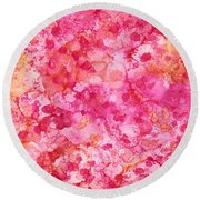 Spring Rose Abstract Round Beach Towel by Patricia Lintner