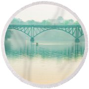 Round Beach Towel featuring the photograph Spring - Rowing Under The Strawberry Mansion Bridge by Bill Cannon