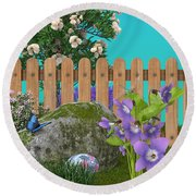 Round Beach Towel featuring the digital art Spring Scene by Mary Machare