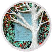 Round Beach Towel featuring the painting Spring Serenade With Tree by Genevieve Esson