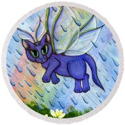 Spring Showers Fairy Cat Round Beach Towel