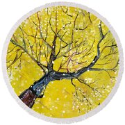 Round Beach Towel featuring the painting Spring Song by Evelina Popilian