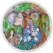 Spring Song Round Beach Towel by Rita Fetisov