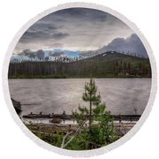 Round Beach Towel featuring the photograph Spring Storm At Round Lake by Cat Connor