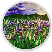 Spring Storm  Iris Fields Round Beach Towel