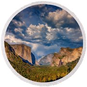 Spring Storm Over Yosemite Round Beach Towel