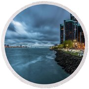 Storm Season In Detroit  Round Beach Towel