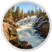 Spring Sun Setting On Roaring Glen Alpine Falls Round Beach Towel