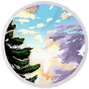 Spring Sunrise 01 Round Beach Towel