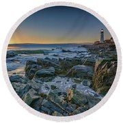 Round Beach Towel featuring the photograph Spring Sunrise At Portland Head by Rick Berk