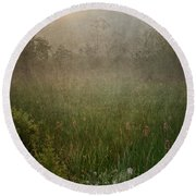 Spring Sunrise In The Valley Round Beach Towel