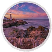 Spring Sunset At Portland Head Lighthouse Round Beach Towel by Rick Berk