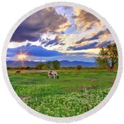 Spring Sunset Over The Rockies Round Beach Towel