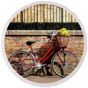 Round Beach Towel featuring the photograph Spring Sunshine And Shadows - Bicycle In Cambridge by Gill Billington