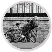 Round Beach Towel featuring the photograph Spring Sunshine And Shadows In Black And White by Gill Billington