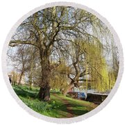 Spring Sunshine On Cambridge Riverbank Round Beach Towel by Gill Billington