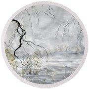 Spring Thaw On Misty Grenadier Pond Round Beach Towel