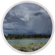 Spring Thunderstorm At Yellowstone Round Beach Towel