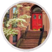 Bushnell Park Brownstone Round Beach Towel
