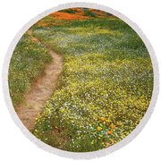 Round Beach Towel featuring the photograph Spring Trail Through A Sea Of Wildflowers At Diamond Lake In California by Jetson Nguyen